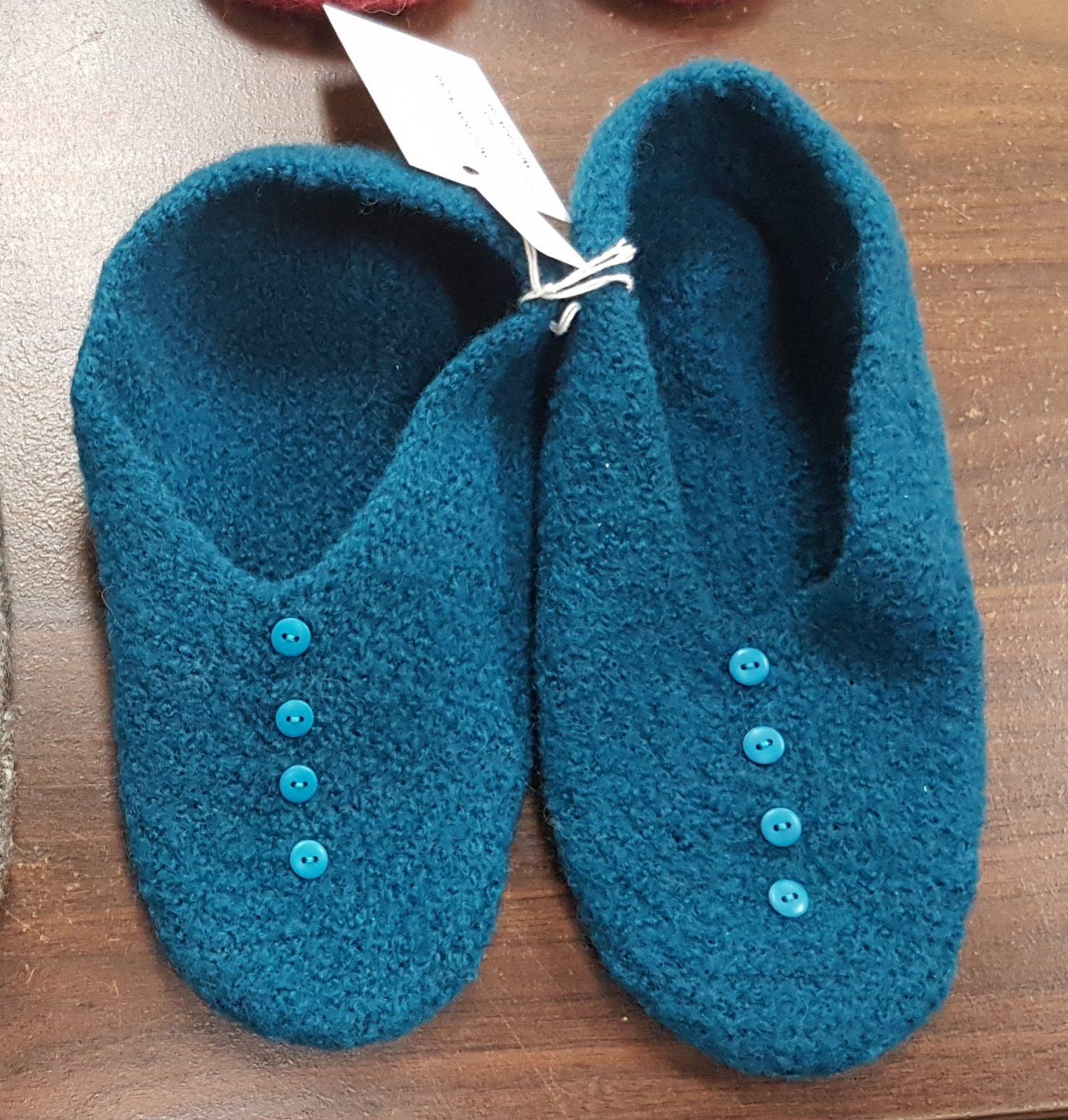 D dot Delights Felted Slippers - Teal Blue