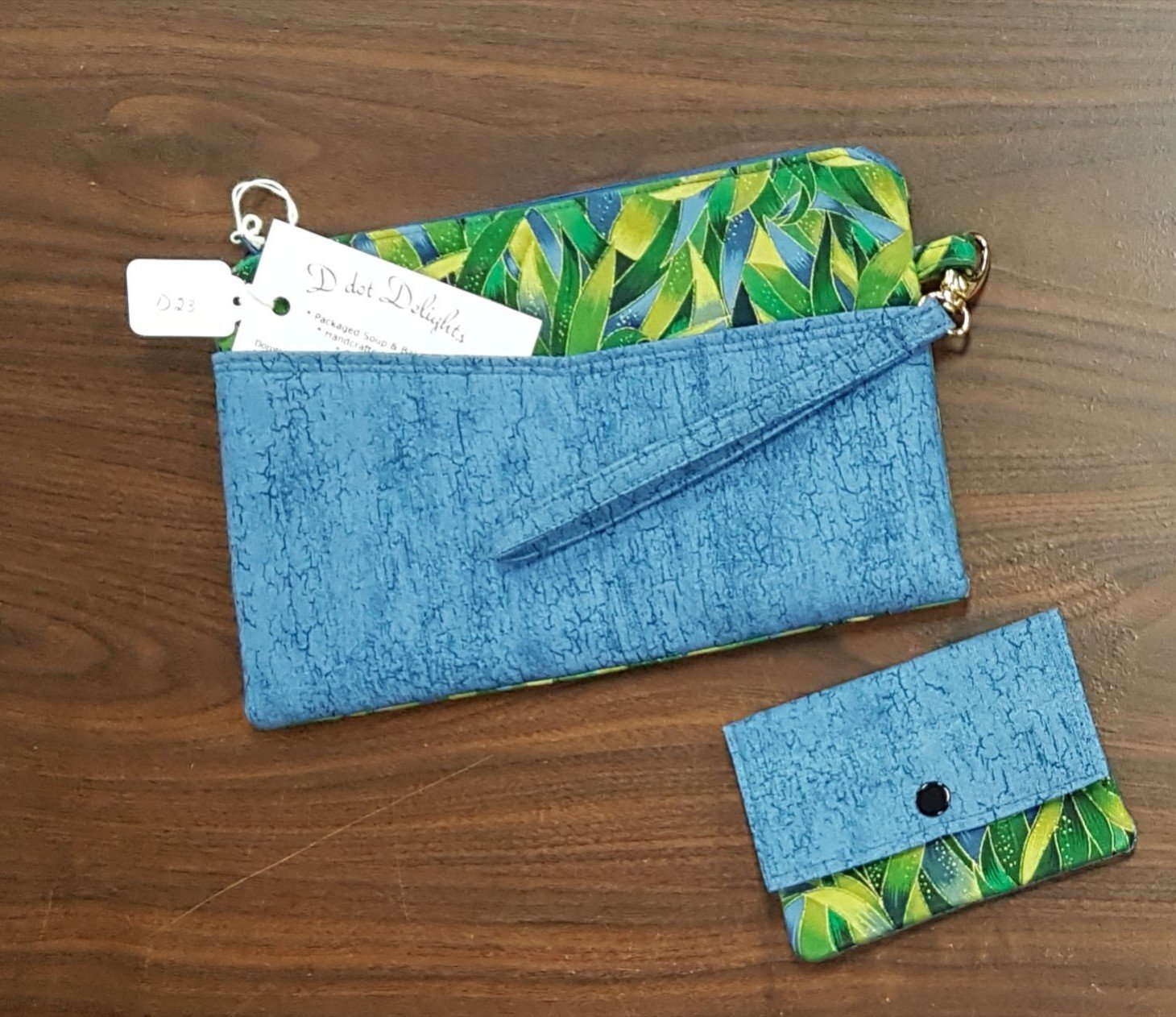 D dot Delights Wallet with Credit card folder - Blue