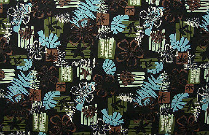 Hibiscus / Leaf Block Print - Black