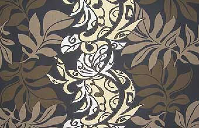 Tribal Design with Tropical Leaves - Black