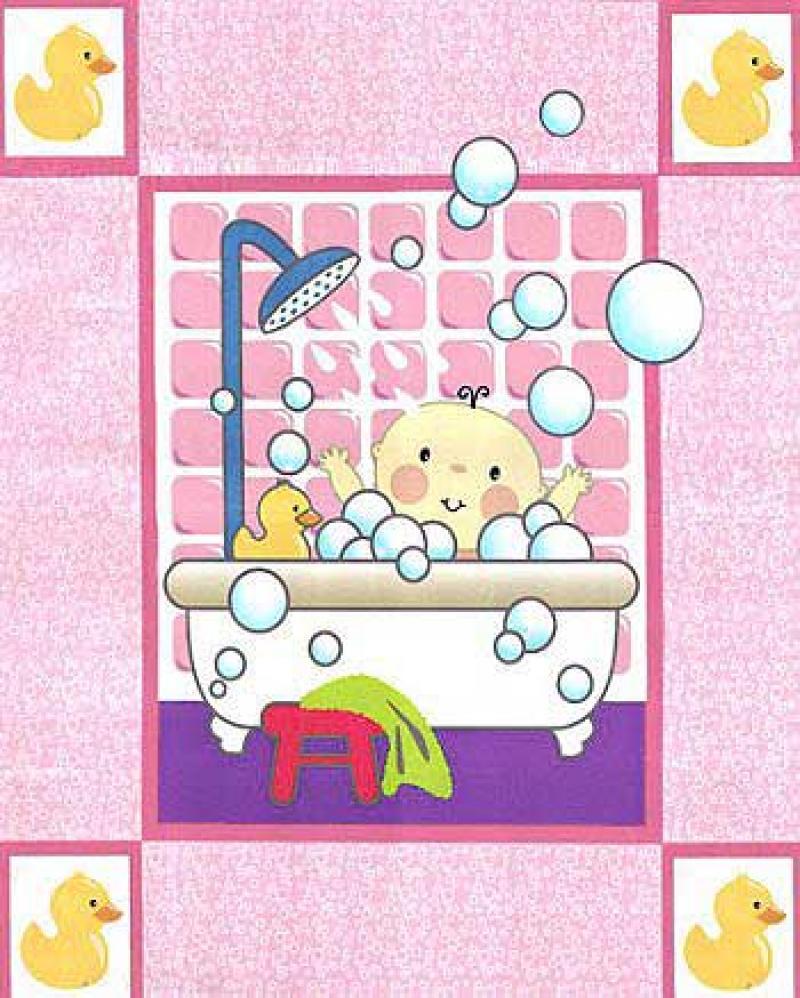 Salina Yoon Kids - Pink Bath Time Panel