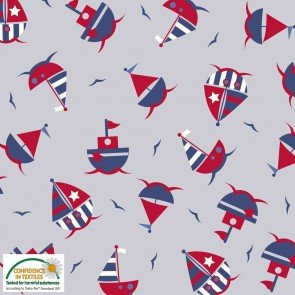 Jersey Print - Boats Red Blue