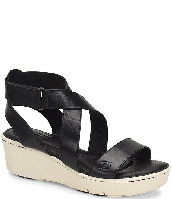 Born Womens Deshka Banded Leather Wedge Sandals