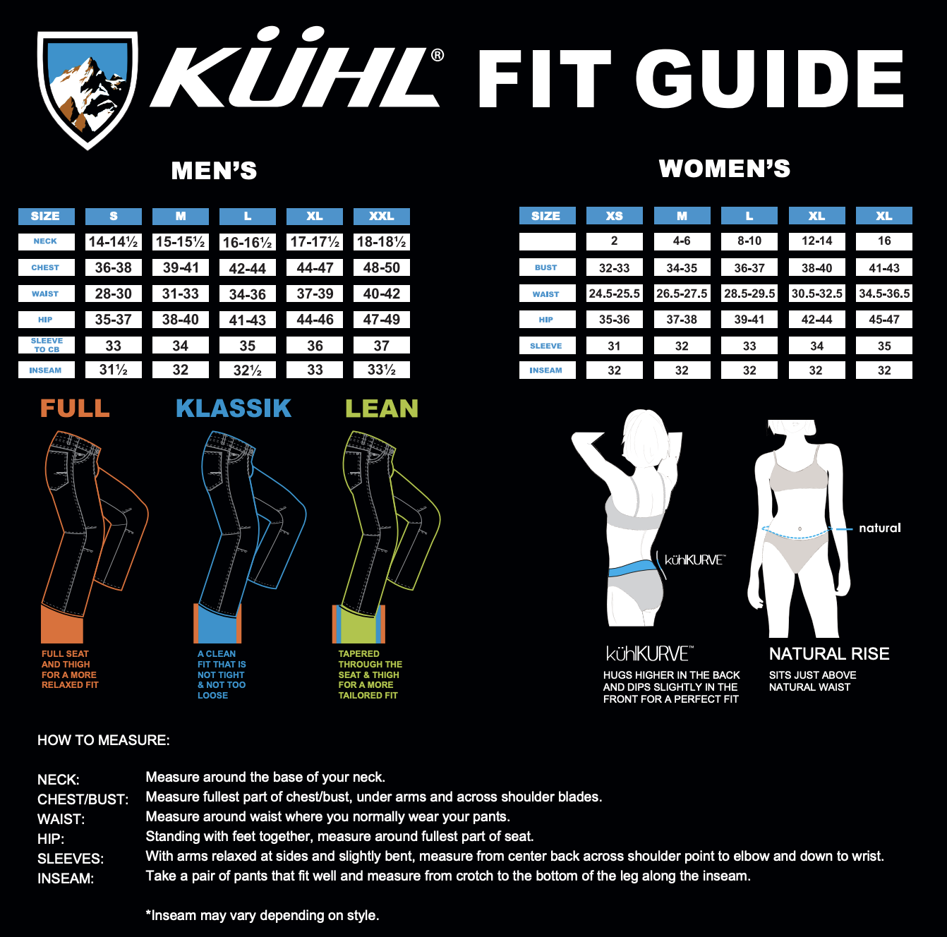 Kuhl Fit Guide