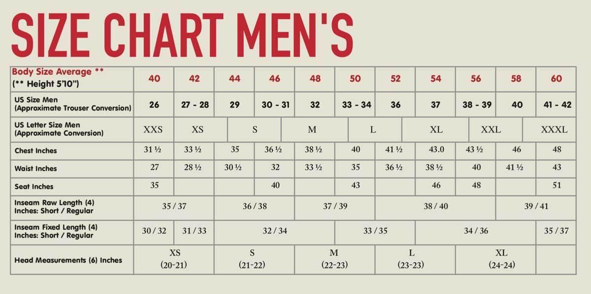 Fjallraven Men Sizes
