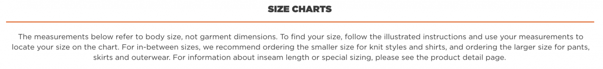 Toad & Co Size Info