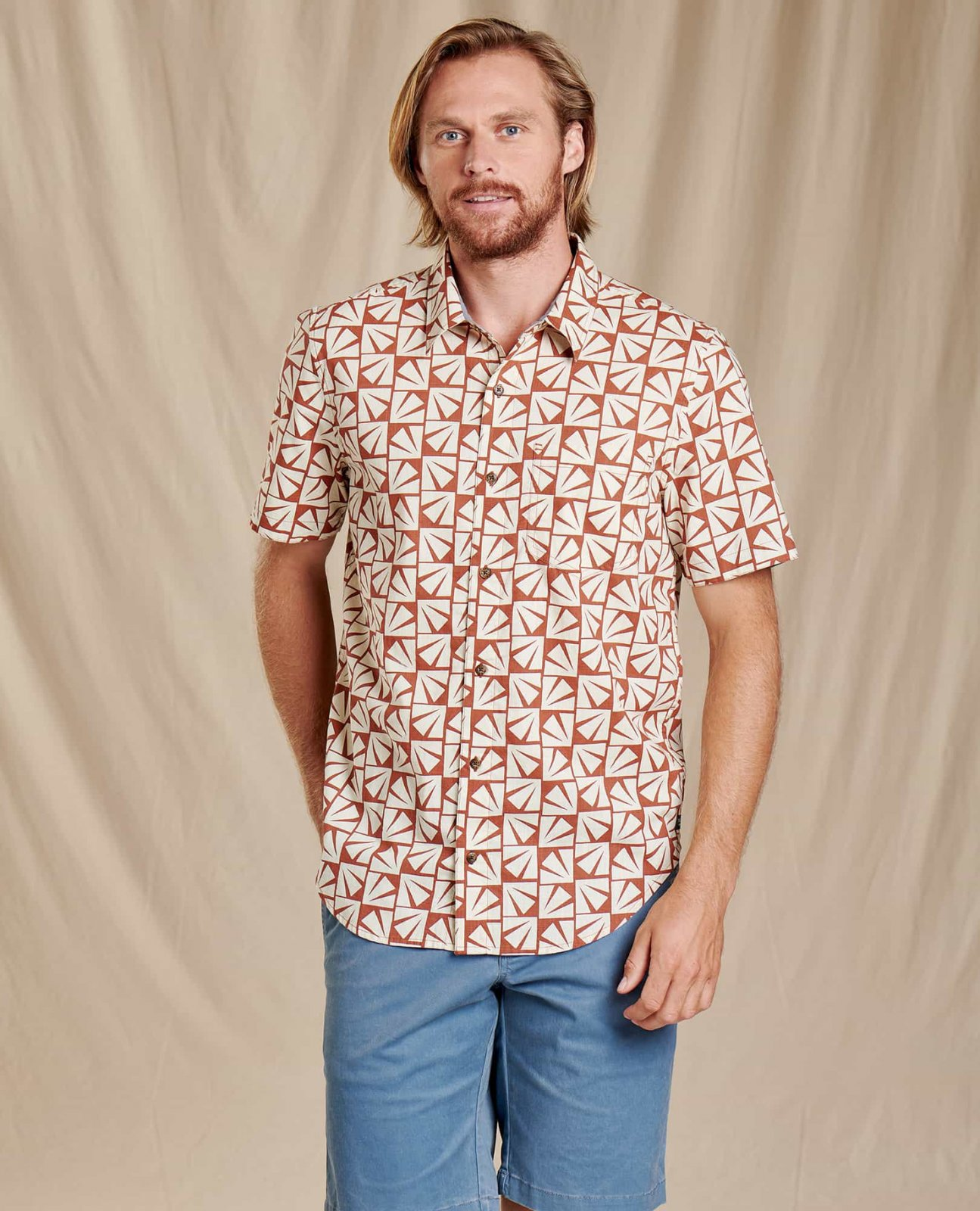 Toad & Co Men's Fletch SS Shirt Coconut Shell Sun Print