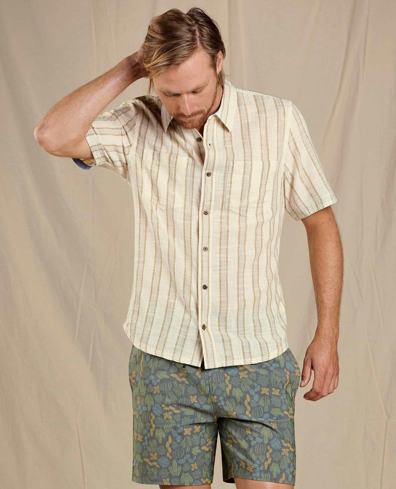 Toad & Co Men's Salton SS Shirt Dark Chino Stripe