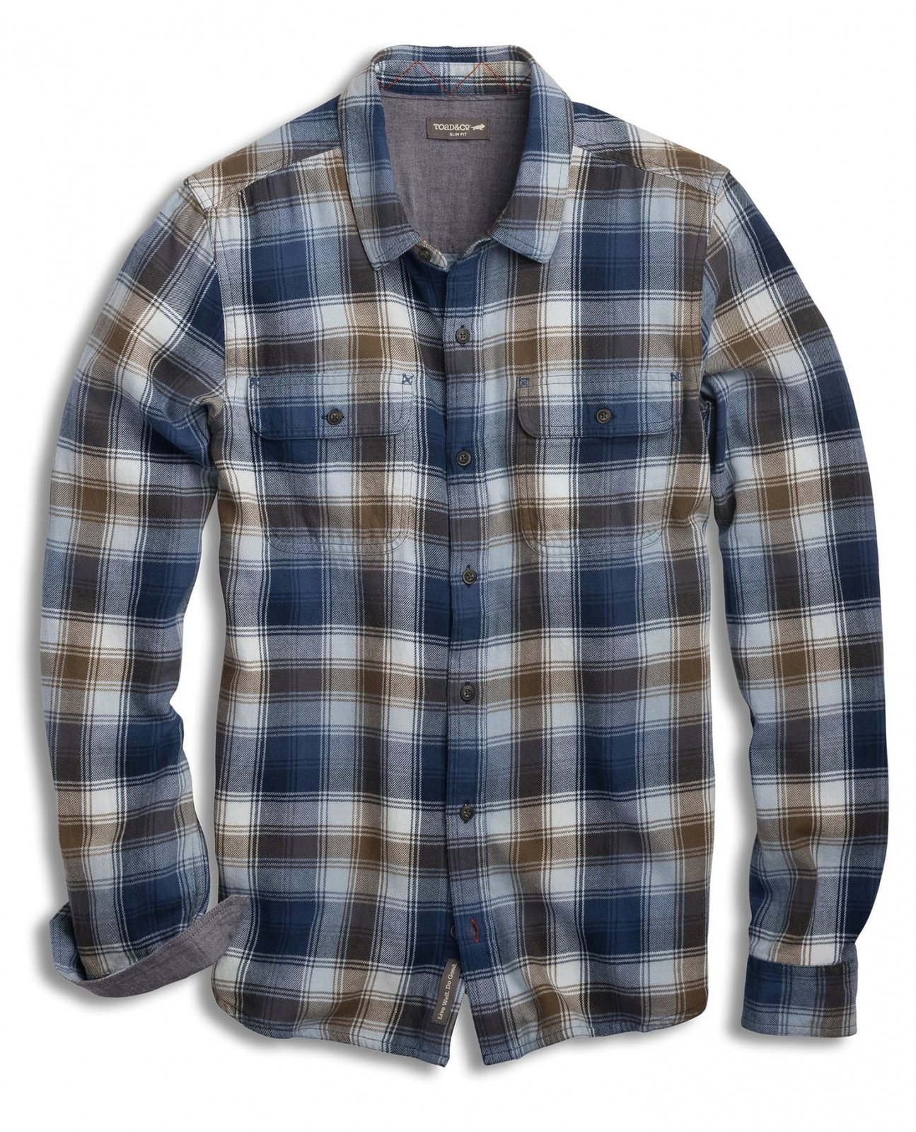 Toad&Co Men's Indigo Flannel Slim Long Sleeve Shirt