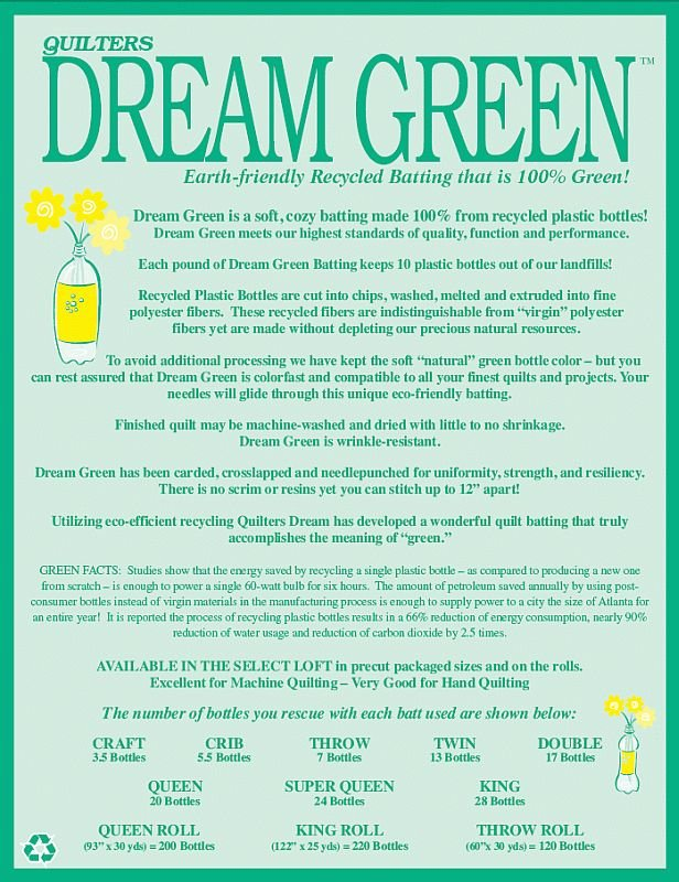 QUILTERS DREAM BATT GREEN TWIN