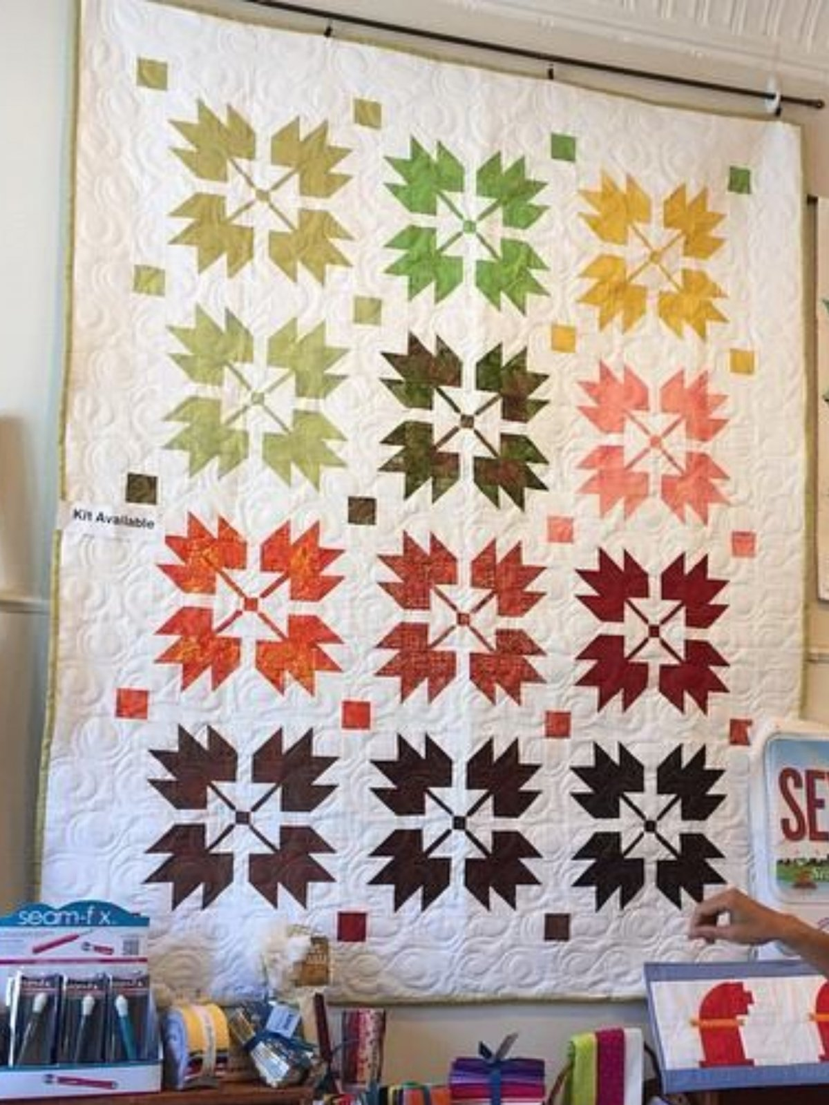 Leaves Quilt Kit- pattern and 12FQS