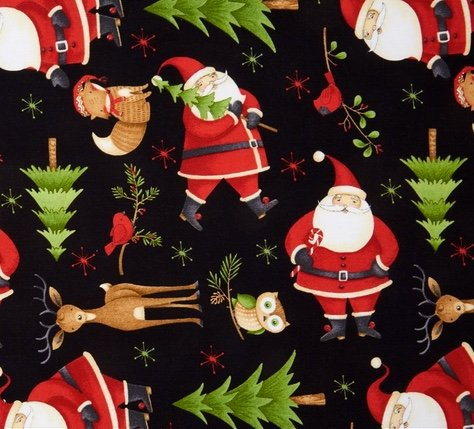 Santa and Woodland Friends, Black