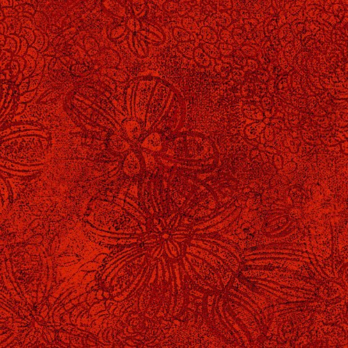 Floral Etch - Brick Fabric