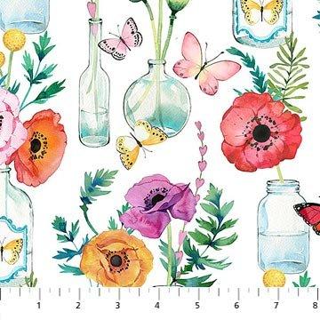 April Showers Flowers & Bottles - White Fabric