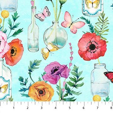 April Showers Flowers & Bottles - Turquoise Fabric