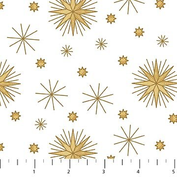 Angels Above Snowflakes - White Fabric