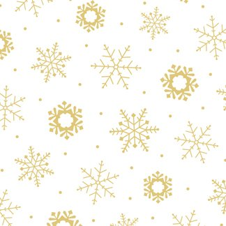 Christmas Eve Snowflakes - White/Gold Fabric