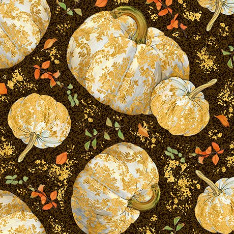 Autumn Shimmer Tossed Pumkins - Espresso Fabric