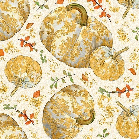 Autumn Shimmer Tossed Pumkins - Cream Fabric