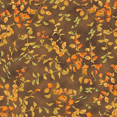 Autumn Shimmer Leaf Branch - Brown Fabric
