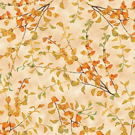 Autumn Shimmer Leaf Branch - Dark Cream Fabric