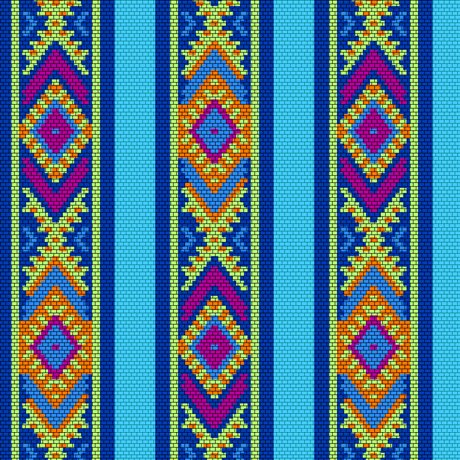 Beaded Blooms Stripe  - Turquoise Fabric