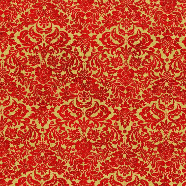 SO Holiday Twinkle Damask - Scarlet Fabric