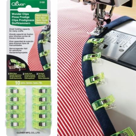 Clover Wonder Clips - 10 pc pack Neon Green