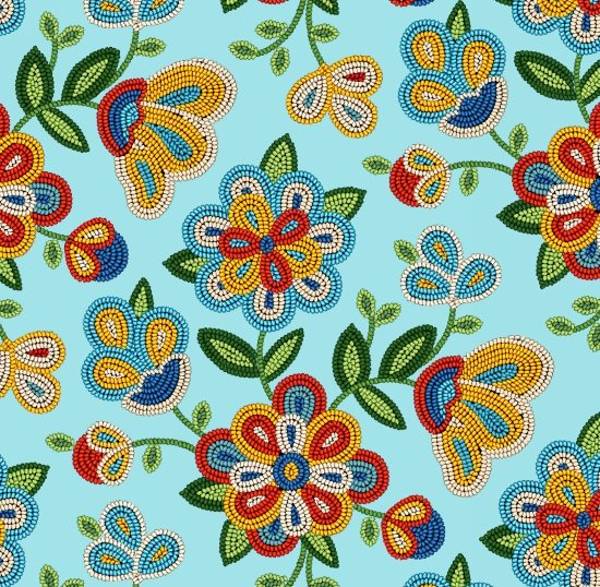 Beaded Native Flowers -  Lt Turquoise Fabric