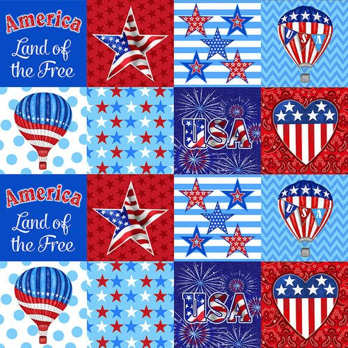 America Home of the Brave Patriotic Patchwork  Fabric