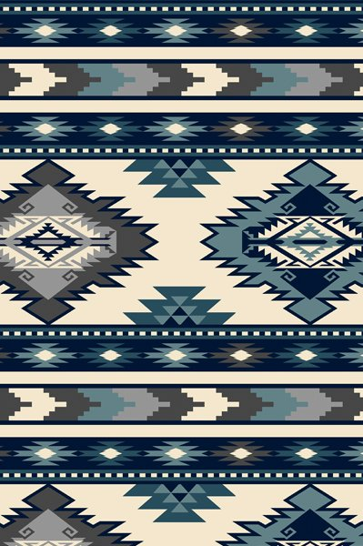 Southwest Stripe - Blue Fleece