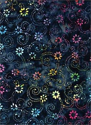 Fireworks Flowers & Dots - Navy Batik