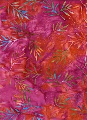 In the Meadow Leafy Sprigs - Red/Orange Batik