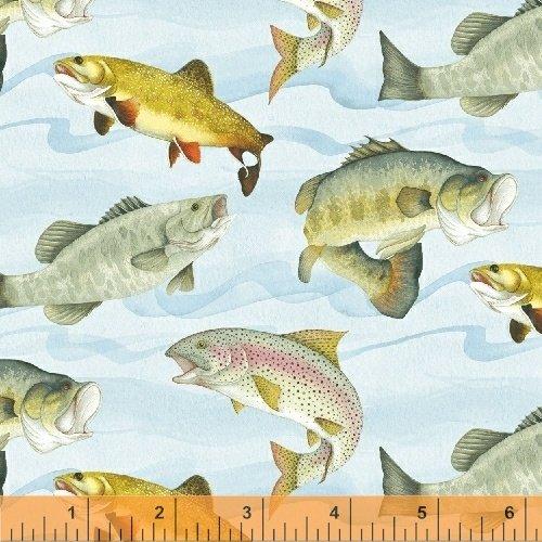 Gone Fishin' Fish - Aqua Fabric