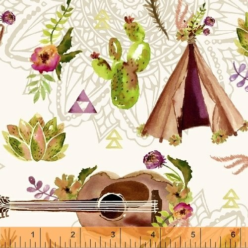 Wanderer's Weekend Collage - Linen Fabric