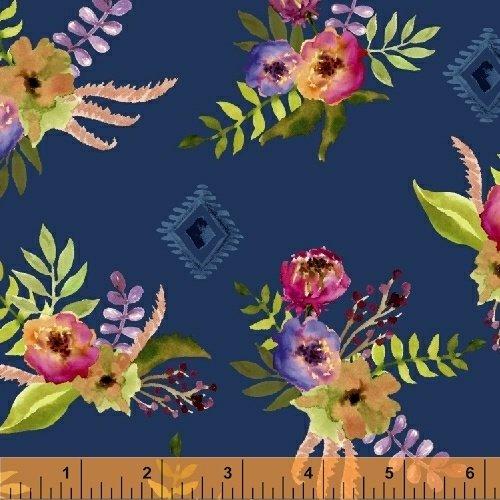 Wanderer's Weekend Floral Bouquet - Navy Fabric