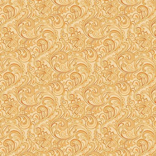 Autumn Leaves Garden Vine Scroll - Butternut Fabric