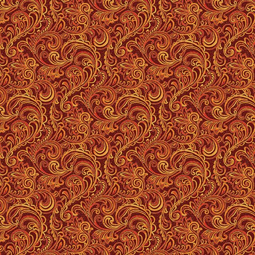 Autumn Leaves Garden Vine Scroll - Spice Fabric