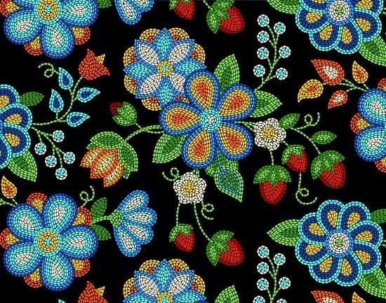 Beaded Berries & Flowers - Black Fabric