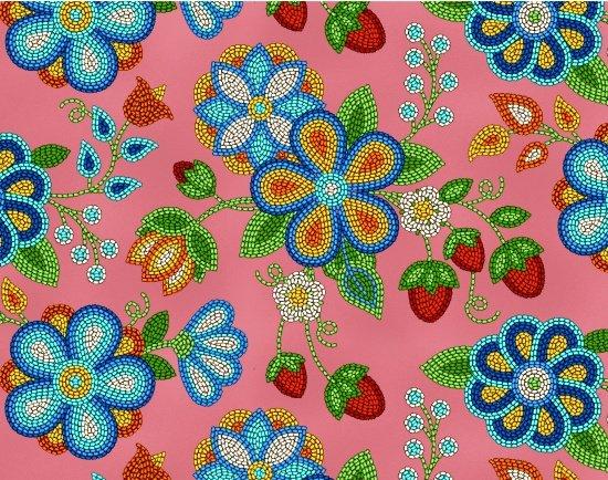 Beaded Berries & Flowers - Coral Fabric