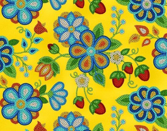 Beaded Berries & Flowers - Gold Fabric