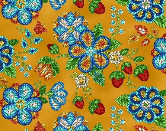 Beaded Berries & Flowers - Moosehide Fabric