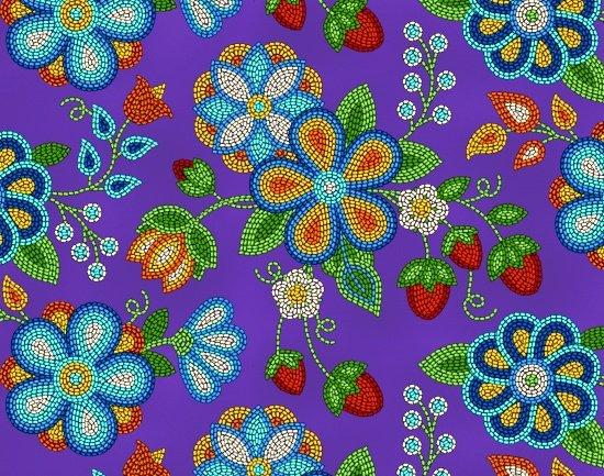 Beaded Berries & Flowers - Purple Fabric