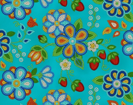 Beaded Berries & Flowers - Turquoise Fabric