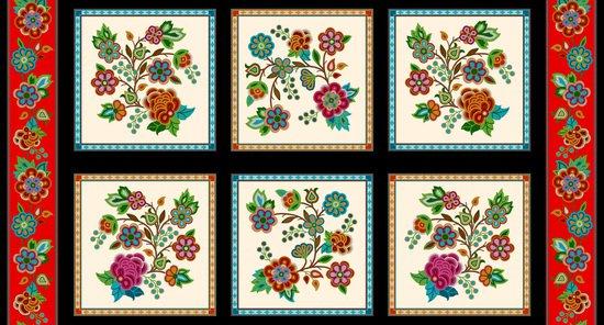 Beaded Flower Panel - Cream