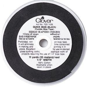 Clover Quick Bias Fusible-Black 1/4- 11 yds