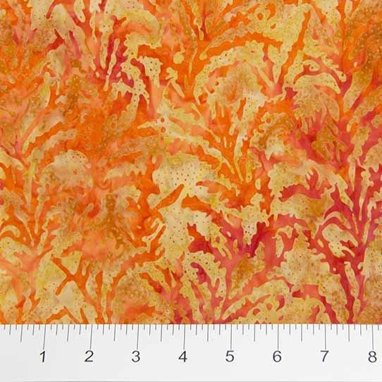 Ikat Sketch Leaves - Orange Batik