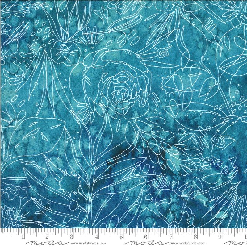Moody Bloom Sketch - Teal DP