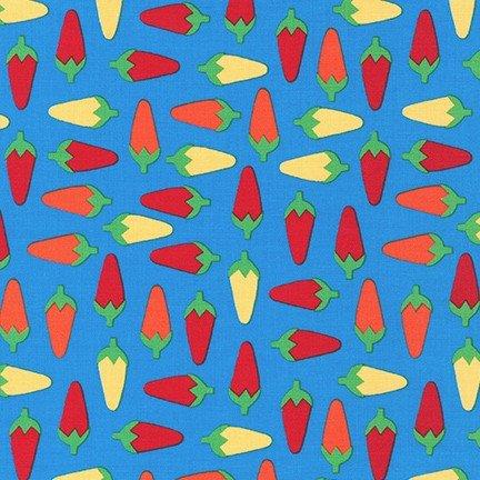 Cute Little Chiles - Blue Fabric