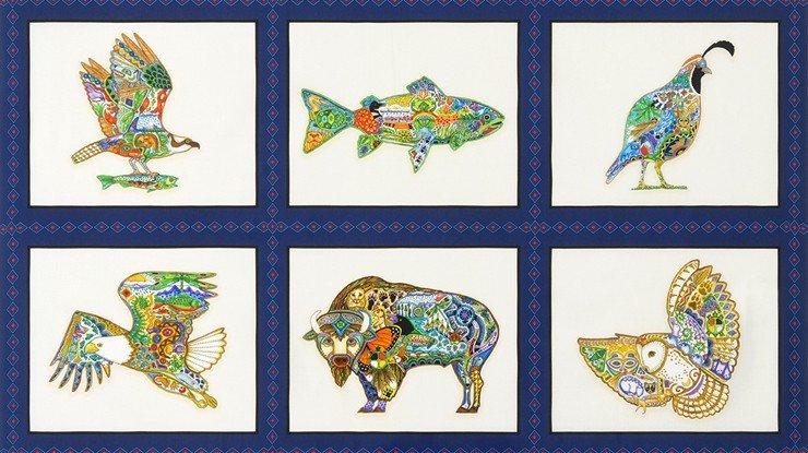 Animal Spirits Blocks - Multi Digital Fabric